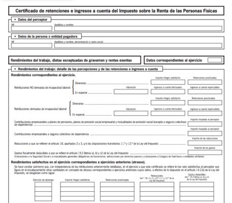 Certificado de Retenciones PDF para el IRPF