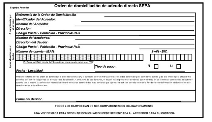 domiciliacion bancaria - SEPA - EPAE